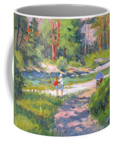 Kennedy Meadows Coffee Mug featuring the painting Fishing At Kennedy Meadows by Rhett Regina Owings