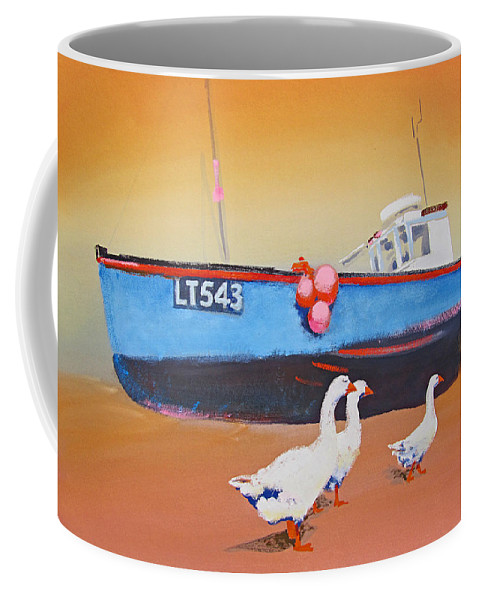 Geese Coffee Mug featuring the painting Fishing Boat Walberswick With Geese by Charles Stuart