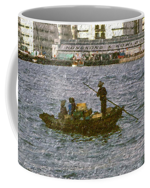 Coffee Mug featuring the digital art Fishing In Hong Kong Vintage by Cathy Anderson