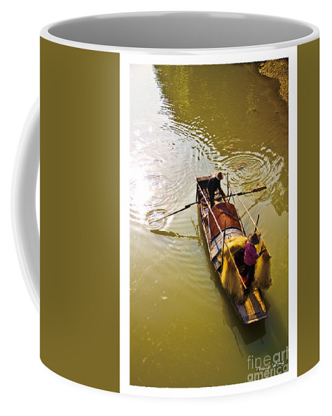 Yellow Coffee Mug featuring the painting Fishing by Philip HP Wong