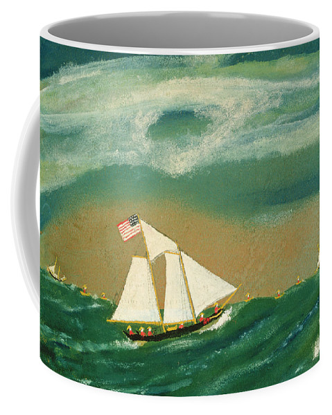 Boat Coffee Mug featuring the painting Fishing Schooner Josephine On The Grand Banks by John OJ Frost