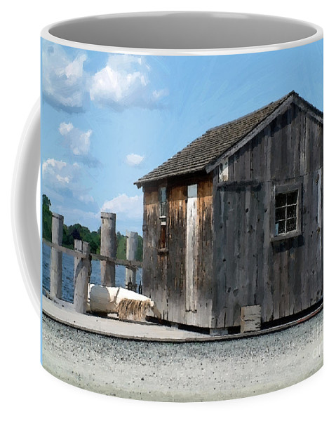 Shed Coffee Mug featuring the painting Fishing Shack On The Mystic River by RC DeWinter