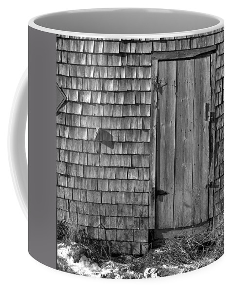 Black And White Coffee Mug featuring the photograph Fishing Shed 12 by Timothy Bischoff