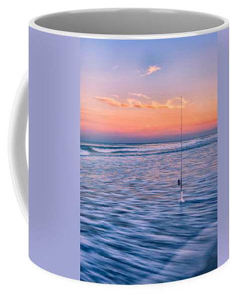 Fishing Coffee Mug featuring the photograph Fishing The Sunset Surf - Vertical Version by Mark Robert Rogers