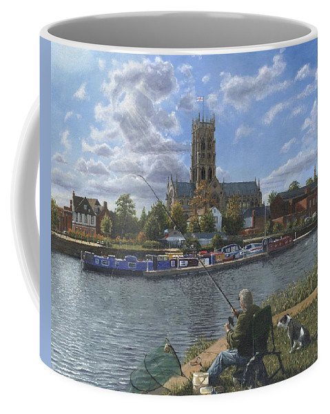 The Minster Church Of Saint George Coffee Mug featuring the painting Fishing With Oscar - Doncaster Minster by Richard Harpum