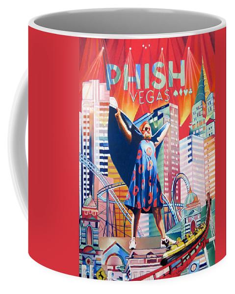 Phish Coffee Mug featuring the drawing Fishman In Vegas by Joshua Morton