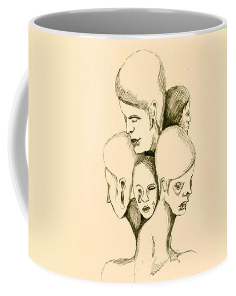 Head Coffee Mug featuring the drawing Five Headed Figure by Sam Sidders