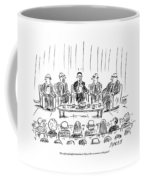 Discsussion Coffee Mug featuring the drawing Five Men Sit On A Stage In Front Of An Audience by David Sipress