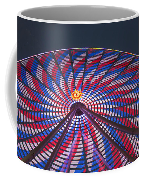 Ferris Wheel Coffee Mug featuring the photograph Flag Wheel by Darleen Stry