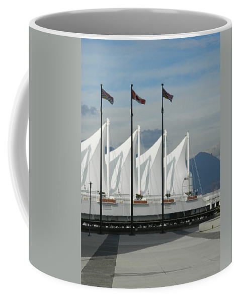 Vancouver Coffee Mug featuring the photograph Flags At The Sails by Nicki Bennett