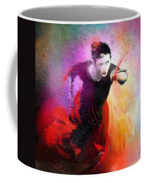 Flamenco Dance Coffee Mug featuring the painting Flamencoscape 03 by Miki De Goodaboom