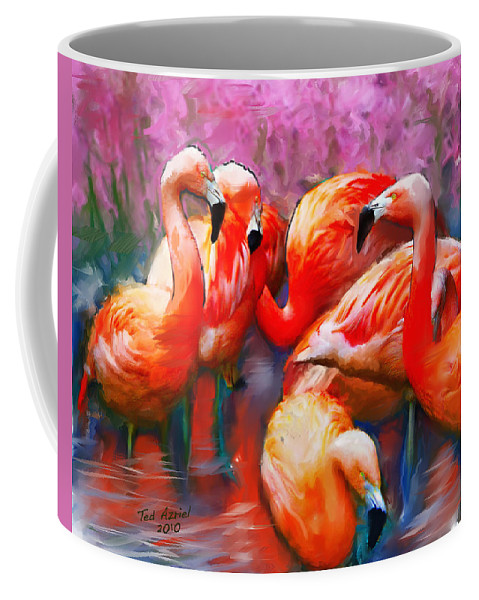Flamingo Art Paintings Coffee Mug featuring the painting Flaming Flamingos by Ted Azriel