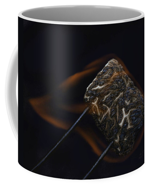 Marshmallow Coffee Mug featuring the digital art Flaming Marshmallow by Michelle Moroz-Chymy