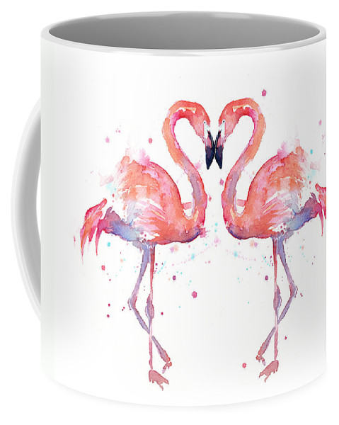 Watercolor Coffee Mug featuring the painting Flamingo Love Watercolor by Olga Shvartsur