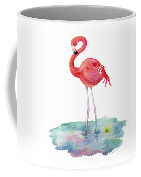 Flamingo Coffee Mug featuring the painting Flamingo Pose by Amy Kirkpatrick