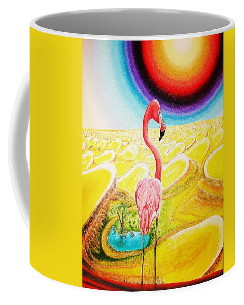 Landscape Coffee Mug featuring the painting Flamingo by Viktor Lazarev