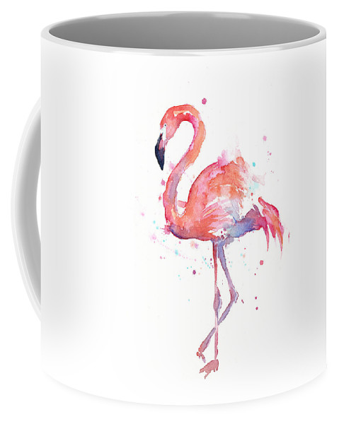 Bird Coffee Mug featuring the painting Flamingo Watercolor by Olga Shvartsur