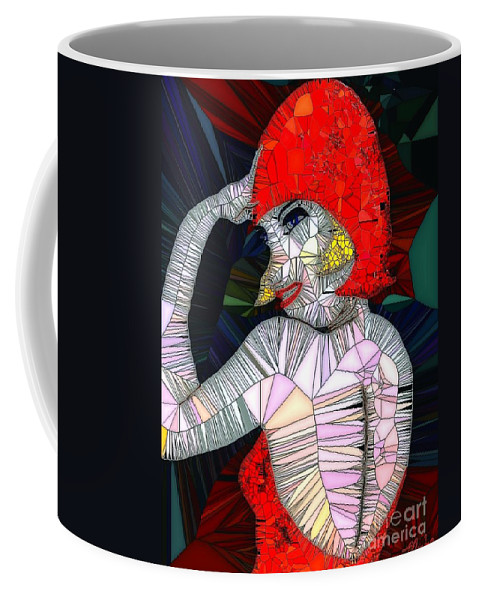 Flapper Girl Coffee Mug featuring the painting Flapper Girl In Glass by Saundra Myles