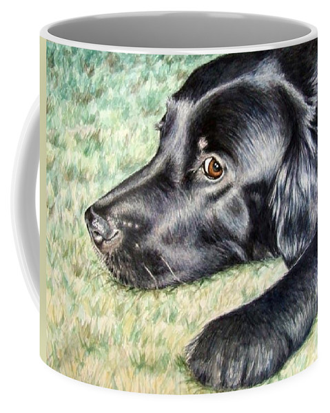 Dog Coffee Mug featuring the painting Flat Coated Retriever by Nicole Zeug