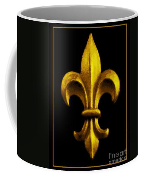 Fleur De Lis Coffee Mug featuring the photograph Fleur De Lis In Black And Gold by Carol Groenen
