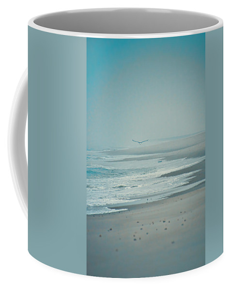 Seagull Coffee Mug featuring the photograph Flight Of Tranquility And Peace by Beth Sawickie