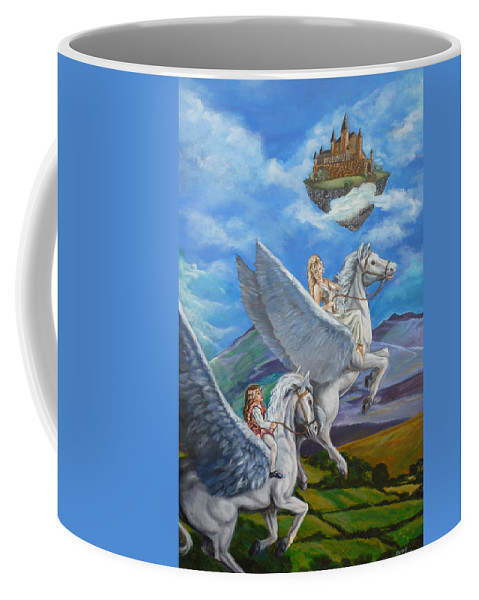 Pegasus Coffee Mug featuring the painting Flights Of Fancy by Bryan Bustard