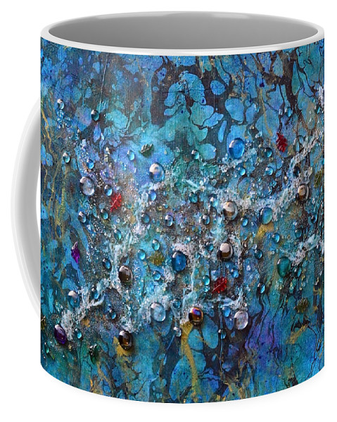River Coffee Mug featuring the mixed media Floating Down The River by Donna Blackhall