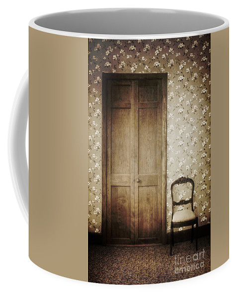 Chair; Empty; Minimal; Dirty; Old; Vintage; Sepia; No One; Inside; Interior; Indoors; Foyer; Floor; Wall; Wood; Hall; Wallpaper; Door; Doorway; Closed; Still Life; Rug; Carpet; Floral; Pattern Coffee Mug featuring the photograph Floral Patterns by Margie Hurwich