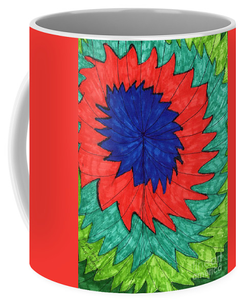 Abstract Floral Drawing Flower In Red And Blue Coffee Mug featuring the mixed media Floral Spin by Elinor Rakowski