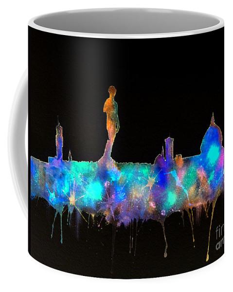 Florence Skyline Nighttime Coffee Mug featuring the painting Florence Skyline - Nighttime 1 by Bill Holkham