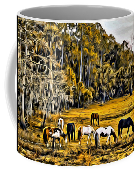 Horses Swamp Florida Coffee Mug featuring the photograph Florida Horses Two by Alice Gipson
