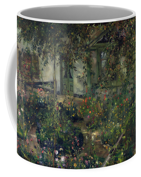 Flower Garden In Bloom Coffee Mug featuring the painting Flower Garden In Bloom by Lovis Corinth