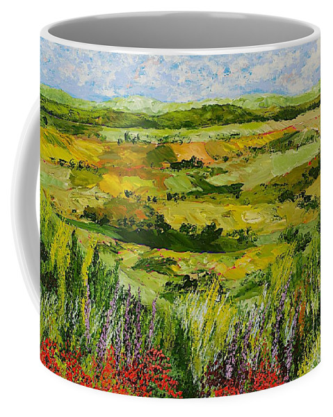 Landscape Coffee Mug featuring the painting Flower Gate by Allan P Friedlander