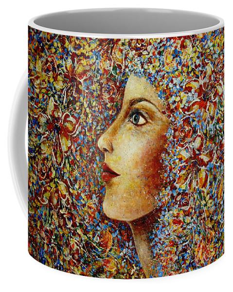 Flower Goddess Coffee Mug featuring the painting Flower Goddess. by Natalie Holland