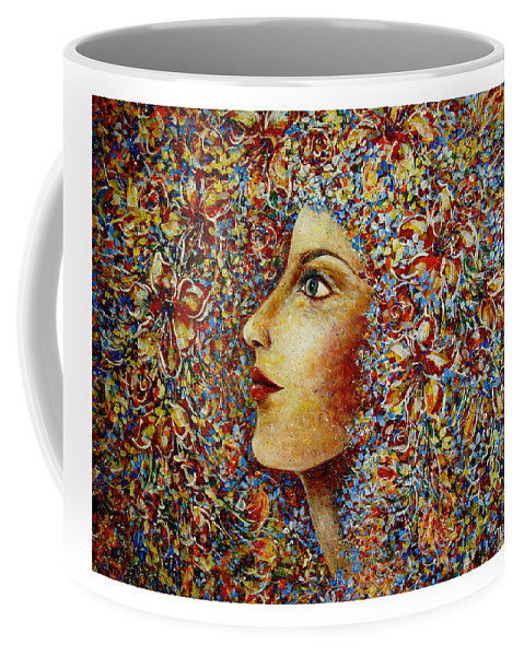 Flower Goddess Coffee Mug featuring the painting Flower Goddess. by Natalie Holland