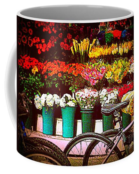 New York Coffee Mug featuring the photograph Flower Market With Bike by Miriam Danar