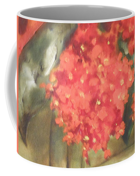 Abstract Coffee Mug featuring the painting Flower On The Wall by Lord Frederick Lyle Morris - Disabled Veteran