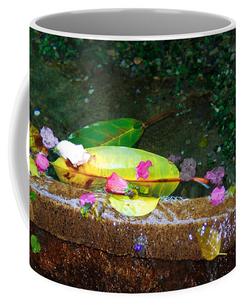 Red Flower Petals Coffee Mug featuring the photograph Flower Petals And Leaves by Optical Playground By MP Ray