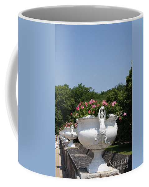 Basin Coffee Mug featuring the photograph Flowerpots In A Row - Chateau Chenonceau by Christiane Schulze Art And Photography