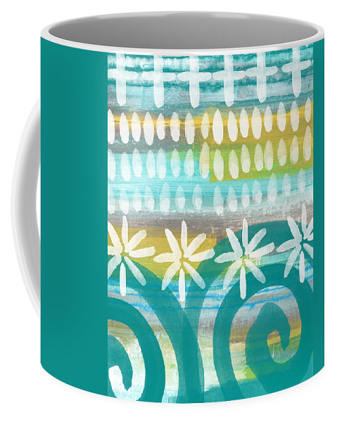 Blue And Yellow Painting Coffee Mug featuring the painting Flowers and Waves- abstract pattern painting by Linda Woods