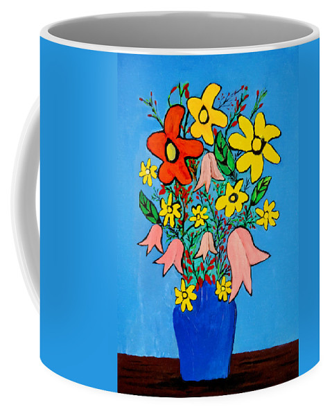 Flowers Painting Coffee Mug featuring the painting Flowers In A Blue Vase by Bishopston Fine Art