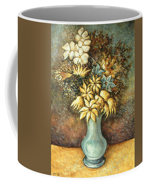 Flowers Coffee Mug featuring the painting Flowers In Blue Vase - Still Life Oil by Peter Potter