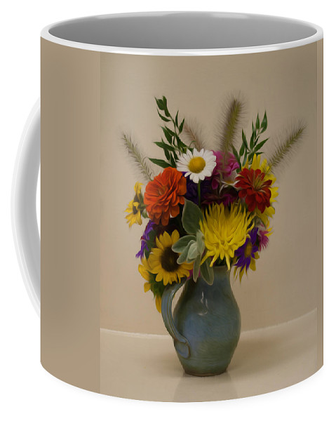 Flower Coffee Mug featuring the photograph Flowers In Vase by Photos By Cassandra