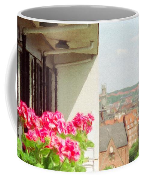 Aarhus Coffee Mug featuring the painting Flowers On The Balcony by Jeffrey Kolker