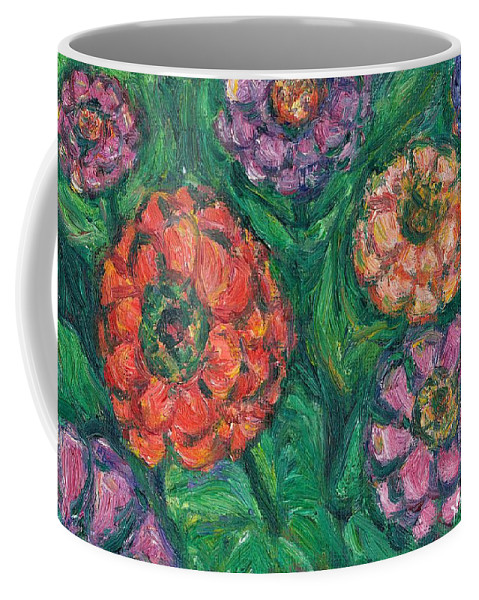 Flowers Coffee Mug featuring the painting Flowing Zinnias by Kendall Kessler