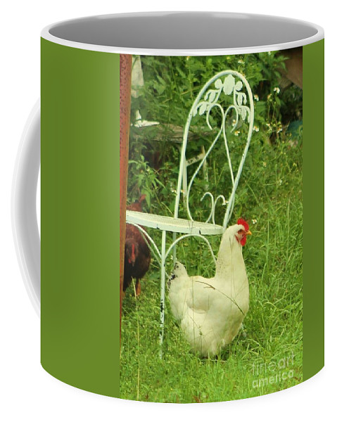 Fowl Coffee Mug featuring the photograph Fluffy Chicken by Michelle Powell