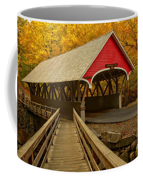 Pemigewasset River Coffee Mug featuring the photograph Flume Gorge Covered Bridge by Adam Jewell