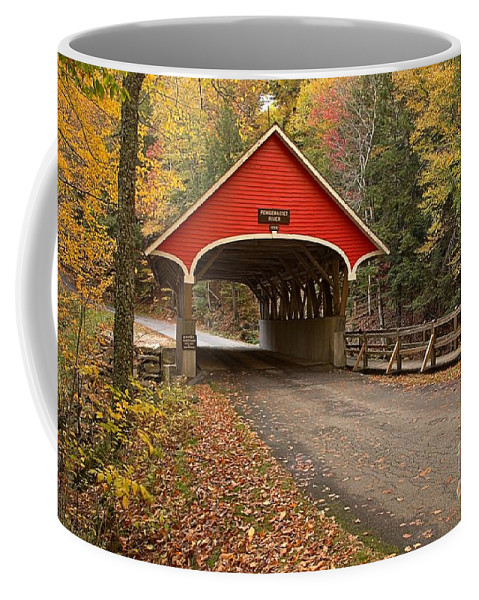 New Hampshire Covered Bridge Coffee Mug featuring the photograph Flume Gorge Covered Bridge Fall Colors by Adam Jewell