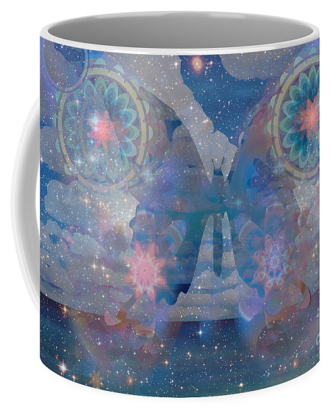 Butterfly Coffee Mug featuring the painting Flutterby Meditation by Shelley Myers