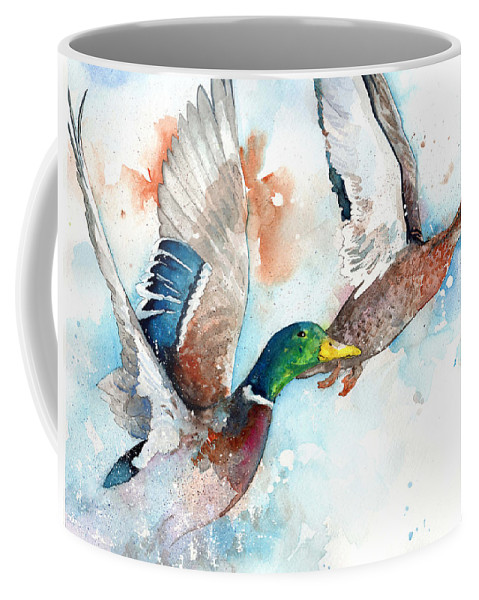 Ducks Coffee Mug featuring the painting Fly by Sean Parnell